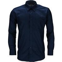 New Mens Long Sleeve Shirt Button Up Oxford Work Smart Formal Plain Dress Top