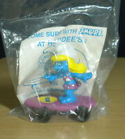 Smurfs Hardees Smurfette Purple Skateboard Smurf Figure Vintage PVC Toy Figurine