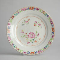 Antique Qing Qianlong 18th Chinese Taste Famille Rose Porcelain Plate China