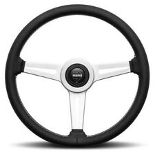 Genuine Momo Retro 360mm steering wheel. Black leather with white stitching.