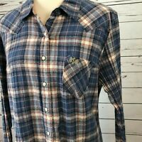 Shyanne XL Shirt Western blue Plaid Extra Large White Pearl Snap Long Sleeve