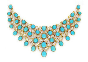 5.56ct Natural Round Diamond 14K Yellow Gold Turquoise Anniversary Necklace