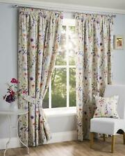 Hampshire Wild Flower Floral Pencil Pleat Top Cream Curtains 66 X 72