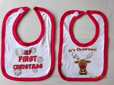 BABY COTTON CLOTH FUN DRIBBLE BIB MY 1st CHRISTMAS XMAS SNOW REINDEER NB 0-6 m
