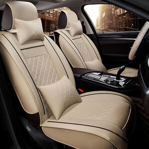5-Seats Deluxe PU leather Car Seat Cover Full Front+Rear Cushion W/Pillow Size M