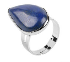 R078E Ring Silve Plated with Lapislazuli Blue Adjustable Size