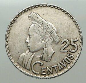 1963 GUATEMALA Native Woman Scroll VINTAGE OLD Silver 25 Centavos Coin i85117