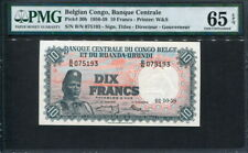 Belgian Congo 1955-1959 ( 1958 ), 10 Francs, P30b,PMG 65 EPQ GEM UNC