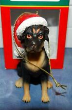 Rottweiler Dog Puppy Collectible Christmas Picture Figurine Kurt Adler Ornament
