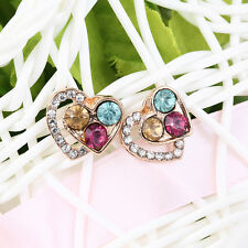 1 Pair Fashion Women Charm Heart Crystal Pierced Stud Earrings Accessory MO