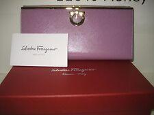 $575 NEW Salvatore Ferragamo Continental Leather ID Card Wallet Gold Gancini BOX
