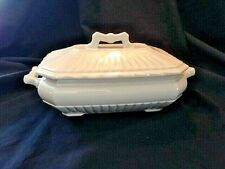 Rare Footed White Ironstone Rectangular Dish with Lid & decorative handles Circa