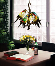 Makernier Vintage Tiffany Stained Glass Tree Branches 5 Arms Parrots Chandelier