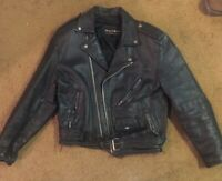 VINTAGE 80's WILSONS DISTRESSED HEAVY LEATHER BRANDO MOTORCYCLE JACKET SIZE m