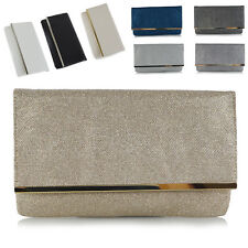 Womens Glitter Clutch Bag Envelope Bridal Prom Club Evening Purse Handbag UK