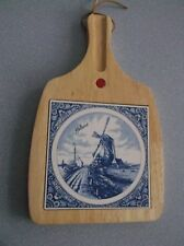 Vintage Cheese Board Paddle with Ceramic Blue Windmill Tile ( 6x6 ) w/Knife Slot