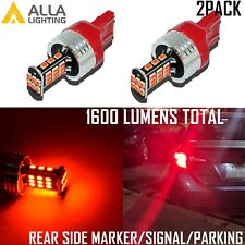 Alla Lighting 7443 30-LED Rear Side Marker Signal Light Bulbs Parking Lamps, Red
