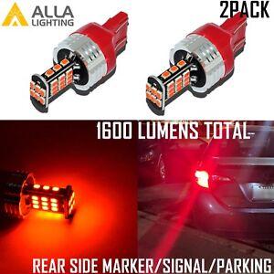 Alla Lighting 7443 30-LED Rear Side Marker Signal Light Bulbs Parking Lamps, Red