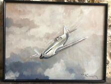 Aquarelle Paul Langellé Aviation WW2 Old Painting Militaria Affiche