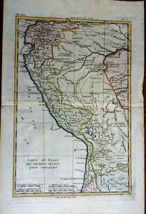 Peru Bolivia Ecuador Lima La Paz Andes Mountains Lake Titicaca 1780 Bonne map