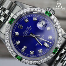 Ladies Rolex 26mm Datejust Blue Color Dial with 8+2 Emerald Diamond Accent Watch