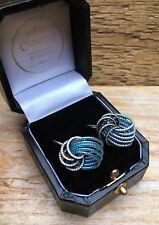 Vintage Metallic Wire Clip On Knot Earrings/Screw back/Blue Silver Tone/Retro