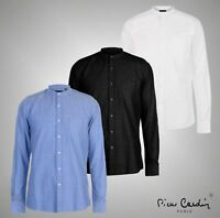 Mens Designer Pierre Cardin Smart Casual Grandad Collar Oxford Shirt