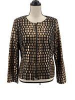 Joseph Ribkoff Womens Lightweight Jacket Black Gold 14 Geometric Zipper Metallic
