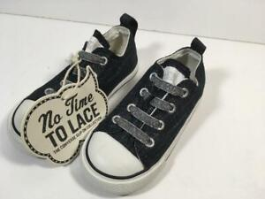 New Girl's CONVERSE No Time To Lace Slip On Black & Silver Metallic Shoes, Sz 7