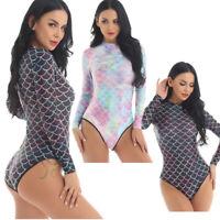Women Long Sleeve One-piece Swimwear Rash Guard Surfing Bikini Mermaid Bathing