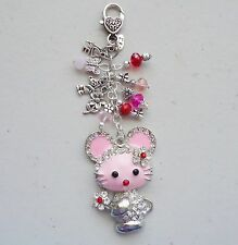 Pink Mouse Diamonte Love crystal Beads Charm Pendant Bag Charm KeyRing Keeper
