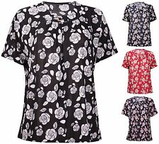 Womens Plus Size Floral Printed Ladies Short Sleeve Brooch Neck Long T-Shirt Top