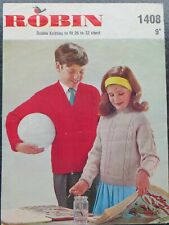 Robin Children's Clothing Knitting Patterns Supplies for