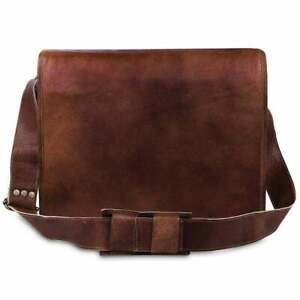 """Vintage Leather Laptop Messenger Handmade Office Briefcase Satchel Sling Bag 15"""""""