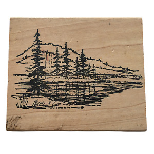 Northwoods Rubber Stamp Landscape Pine Trees Lake Scene Mountains Nature Outdoor