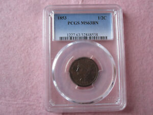 1853 Braided Hair Half Cent PCGS graded MS63 BN