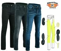 Bikers Gear Men's Slim Fit stretch Kevlar® Lined Motorcycle Jeans Opt CE Armour