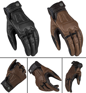 LS2 Rust Man Motorcycle Motorbike Vintage Leather Gloves Black & Brown