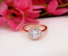 1.50 Ct Round Cut Solitaire Diamond Engagement Ring 18K Solid Rose Gold Rings