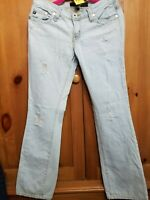 YOM YOM Womens Size 7 28  Low Rise Destructed Light Blue Boot Cut Jeans