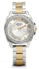 Coach Boyfriend Women's Watch Silver & Gold Stainless Swarovski 14501702 $275