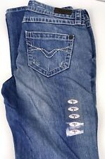 Harley Davidson Womens Jeans Low Rise Boot Cut Faded Blue Distressed Size 6 Tall
