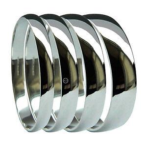 9ct White Gold D-Shape Wedding Rings 375 HM NEW 2mm 3mm 4mm 5mm 6mm Medium Band
