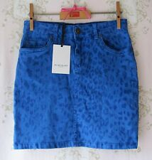 ! Raro! diseñador Allez Allez Leopardo Animal Print tramo Mini Falda De Mezclilla Azul XS