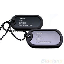 MILITARY ARMY STYLE 2 DOG TAGS PENDANT SWEATER CHAIN NECKLACE MEN'S JEWELRY