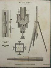 1804 DATED ANTIQUE PRINT ~ PNEUMATICS BAROMETER APPARATUS SECTIONAL