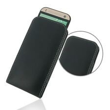 Pdair Hand Made Leather Vertical Pouch Case Cover for HTC One mini 2 - Black
