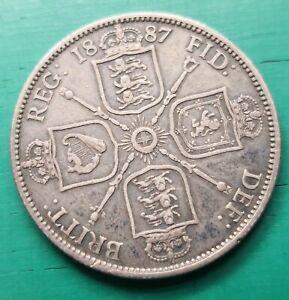 1887 Victoria 925 silver florin coin #375