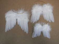 """Miniature feather angel wings, white, 2 pairs of each size: 3""""/4""""/5"""""""