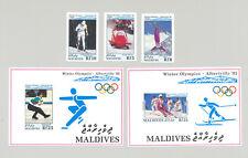 Maldives #1722-1726 Winter Olympics 3v & 2v S/S Imperf Proofs